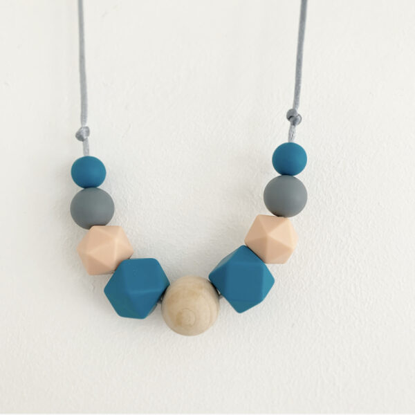 Crafted by Kate, Blue, grey and peach silicone and wooden bead necklace