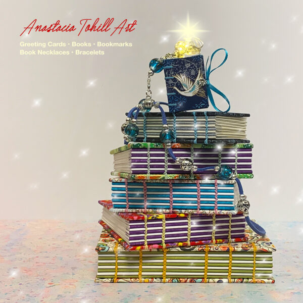 Anastacia Tohill Art, Coptic Stitched Handmade Books, Bookmarks, Greeting Cards, Book Necklaces, Bracelets, Jewellery
