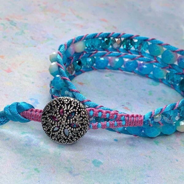 Anastacia Tohill Art, Beaded Double Wrap Bracelet, Pink bracelet, Turquoise Bracelet, Jewellery, Braided Bracelet, Macrame Bracelet, Friendship Bracelet