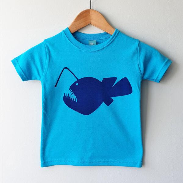 Hand screen printed Angler Fish kids t-shirt