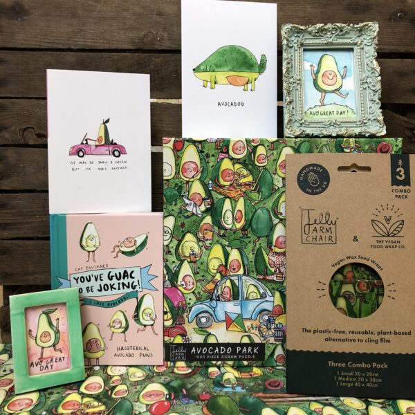 All our avocado related products, jigsaws, cards, vegan wax wraps, book, the lot!