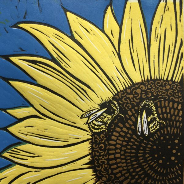 JaneDignumArtowrks. Linocut Print. Sunflower and Bees.