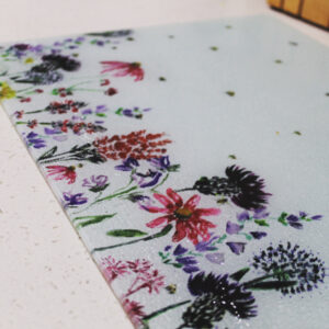Wildflower and bees glass worktop saver / chopping board