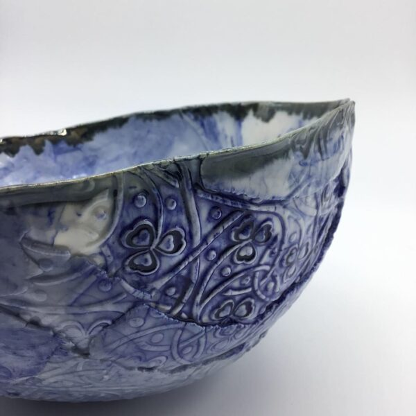 Grace Louise Ceramics Blue marbled ripped porcelain bowl Only one made