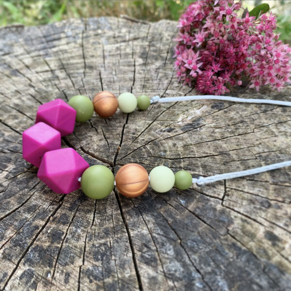 Crafted by Kate, Magenta pink, green and bronze silicone bead necklace