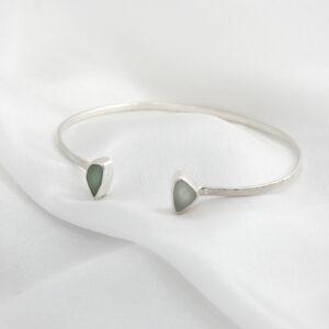 Ondine Designs silver sea glass jewellery bangle