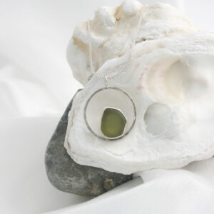 Ondine Designs silver sea glass jewellery green necklace