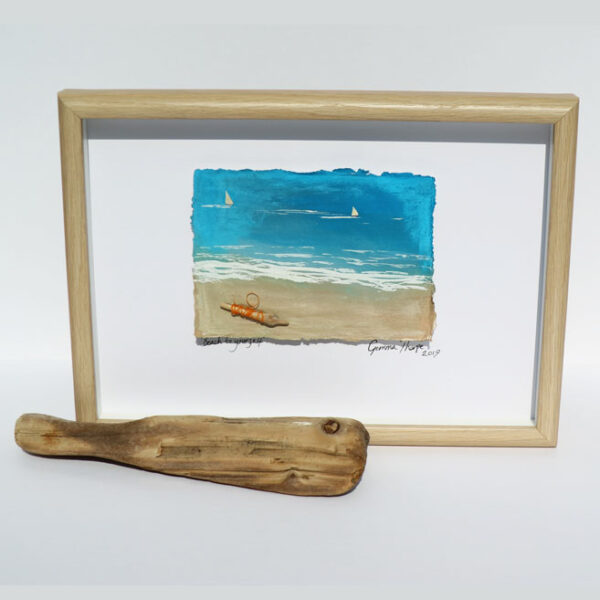 Gemma Thorpe Abstract coastal artwork containing ocean plastic framed