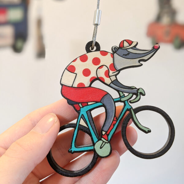 Bébé Bicyclette, Big Bike Race Mobile, Tour de France mobile, A badger riding a bike wearing a King of the Mountains Jersey,