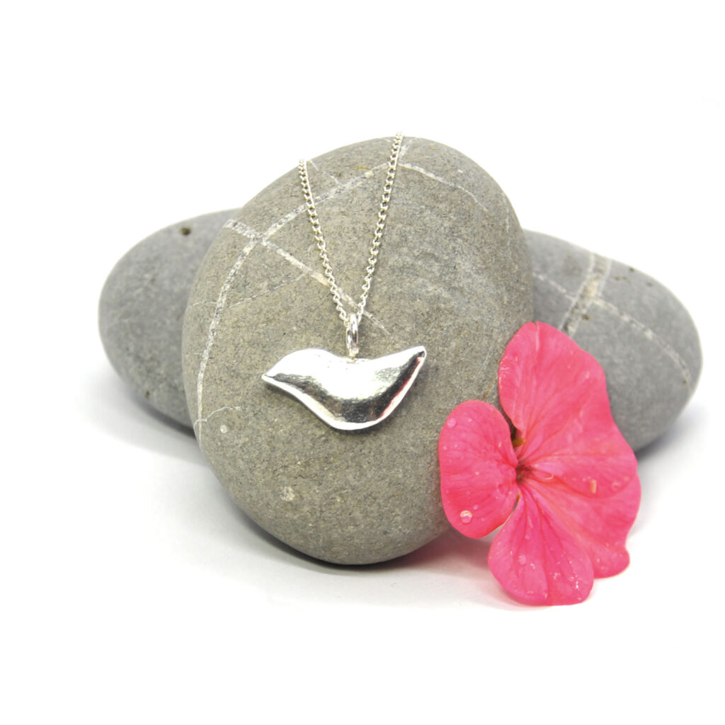 Sweet songbird pendant made in solid recycled silver Mijoux Creations