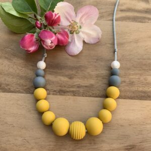 Crafted by Kate, Mustard yellow, grey and pearl silicone bead necklace, Crafted by Kate