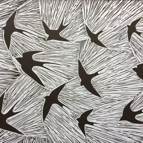 Original handmade linocut. Swallows