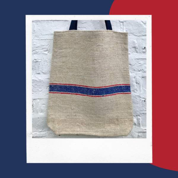 Grain sack tote bag. Red and blue stripes.
