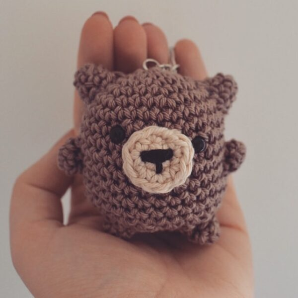 Little Smidge of Happiness, Chubby Brown Bear Crochet Keyring