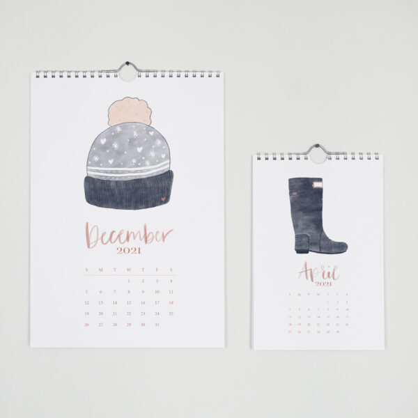 Daydream Paper Studio, A5 + A6 Spiral Wall Calendar with fizzy hat and wellie boot