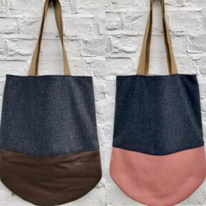 Grey wool with pink and brown leather bottom