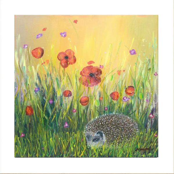 Ann Smith Art ,Down In the Garden Hedgehog Giclee Prin