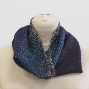Hand woven Merino cowl in shades of blue