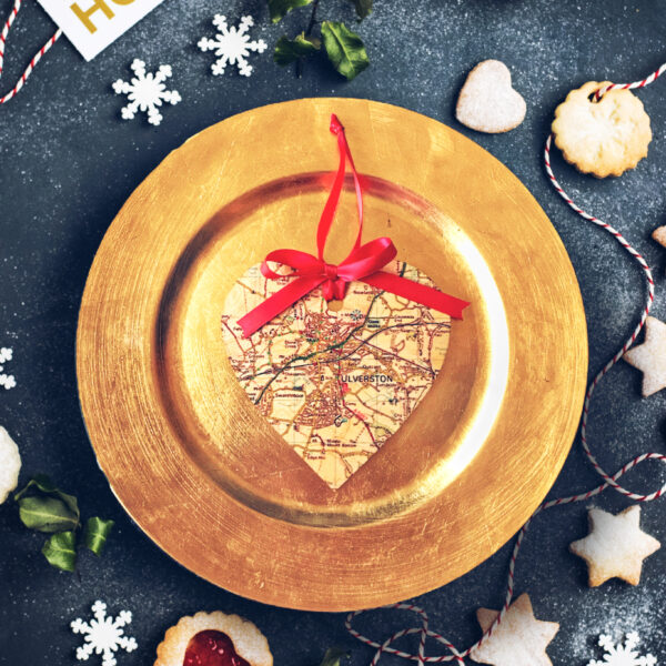 Go Your Own Way, Personalised Wooden Printed Map Heart on a gold plate surrounded by christmas cookies