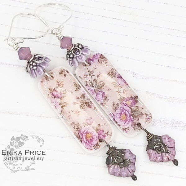 Erika Price Lavender Chintz Earrings