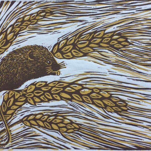 JaneDignumArtowrks. Linocut Print. Harvest Mouse.
