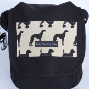 Bertiewoofsterandme black dog-walking bag showing linen look fabric with black dog silhouette
