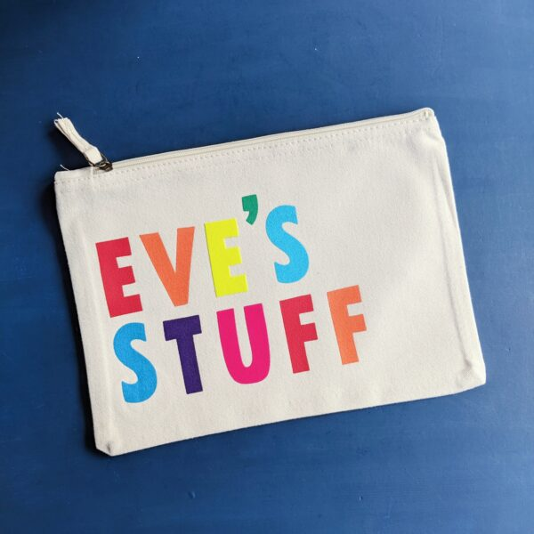 Grizzli bear custom personalised large zip pouch with rainbow lettering