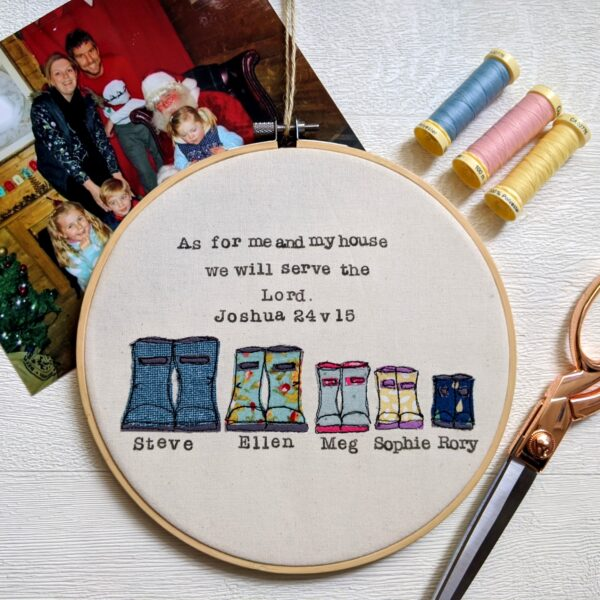 Faith-In-Fabric-Personalised-Family-8-Inch-Welly-Boot-Embroidery-Hoop-Gift