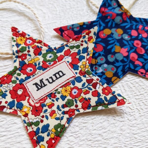 Faith-In-Fabric-Personalised-Handmade-Liberty-Christmas-Star-Decorations-including-a-charity-donation-