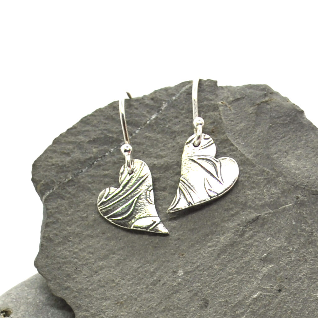 Floral heart drop earrings recycled silver asymetric Mijoux Creations