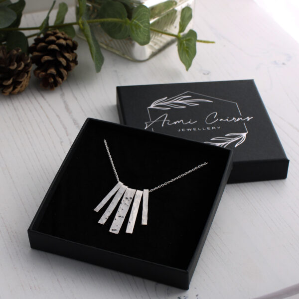 Aimi Cairns Jewellery, Silver Hammered Fringe Necklace