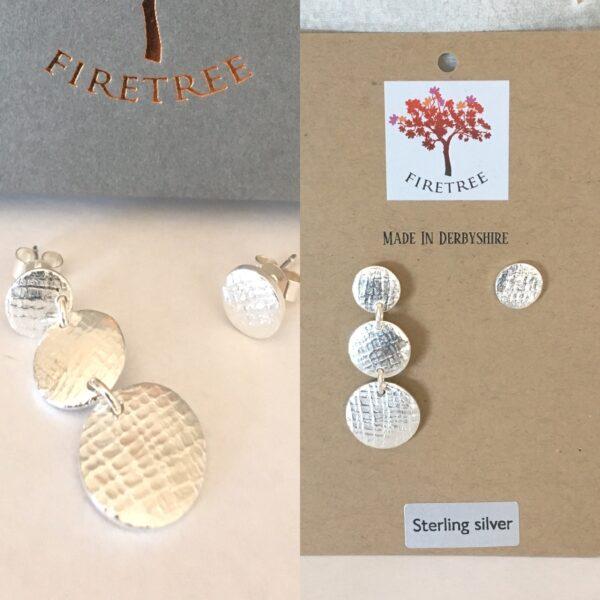 Firetree,Mismatch Sterling Silver Drop Stud Earrings. Beautiful texture.