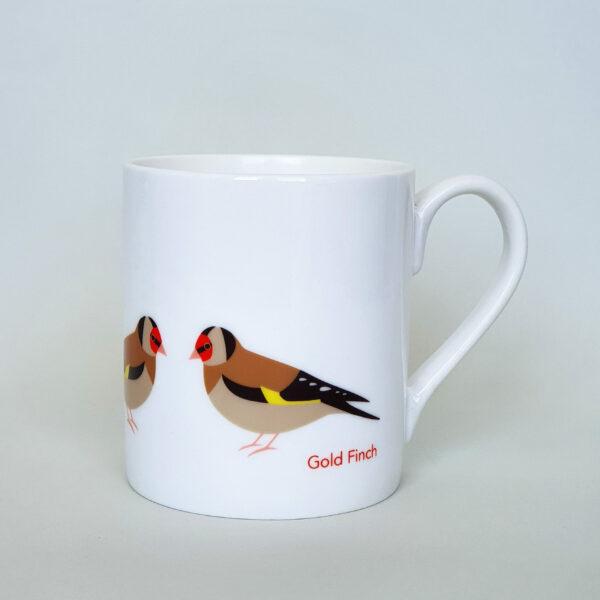 Gold Finch bone china mug