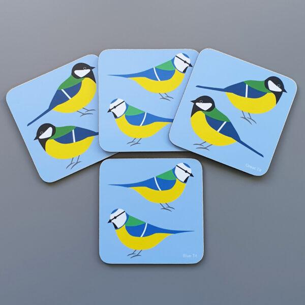 Set of 4 Blue Tit & Great Tit Coasters