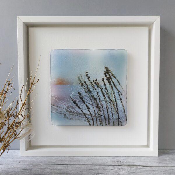 Helen Smith Glass - Grasses framed fused glass wall art