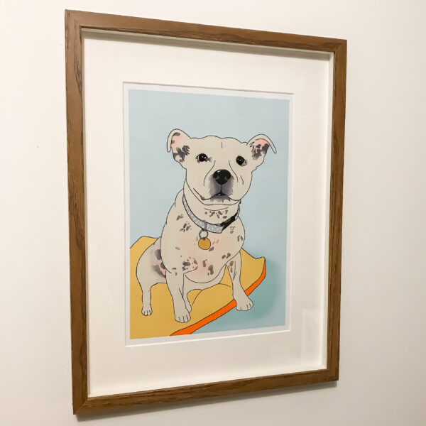 Bet Your Bottom Collar, Pet Portrait Staffy, a digital portrait of a white Staffordshire Bull Terrier on a light blue background with a yellow bed
