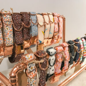 Bet Your Bottom Collar, Collar Stand, a stand made of copper piping holding a selection of dog collars
