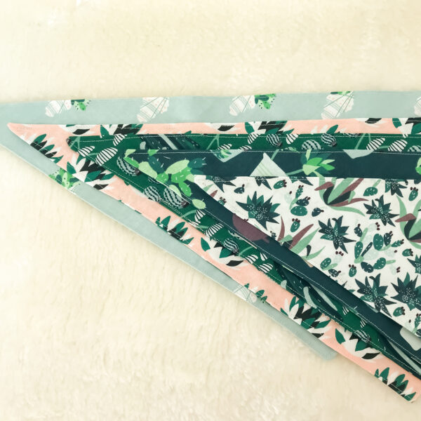 Bet Your Bottom Collar, Succulent Bandanas, selection of 4 bandanas with succulent plants printed on to various colour backgrounds