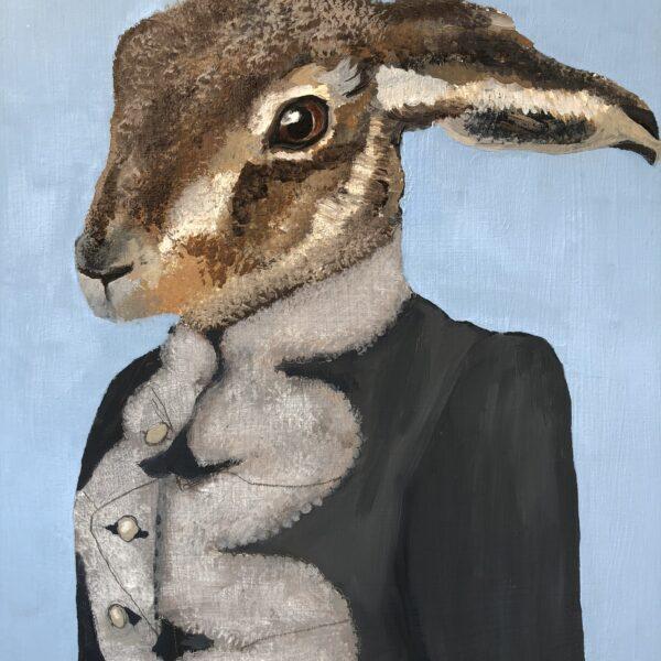 Bonker*s Clutterbucks - Hugh the Hare, Oil on Board