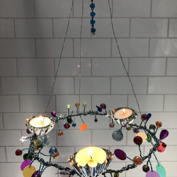 Candelabra with cut glass, sequins and multifaceted beads