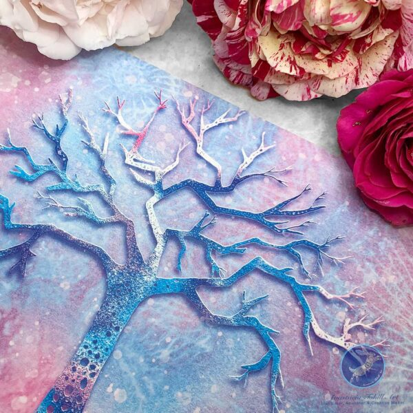 Anastacia Tohill Art, Tree Greeting Card, Pink and Blue Card, Greeting Card, Illustration, Tree Illustration