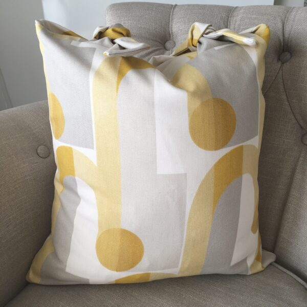 Chloe's Cushion handmade yellow and grey cushion