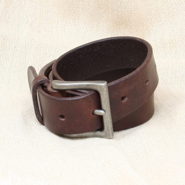 "Happy Hedgerow, brown leather belt, 1.25"" wide with antique nickel buckle"