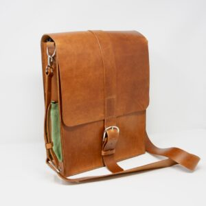 Happy Hedgerow, leather messenger bag