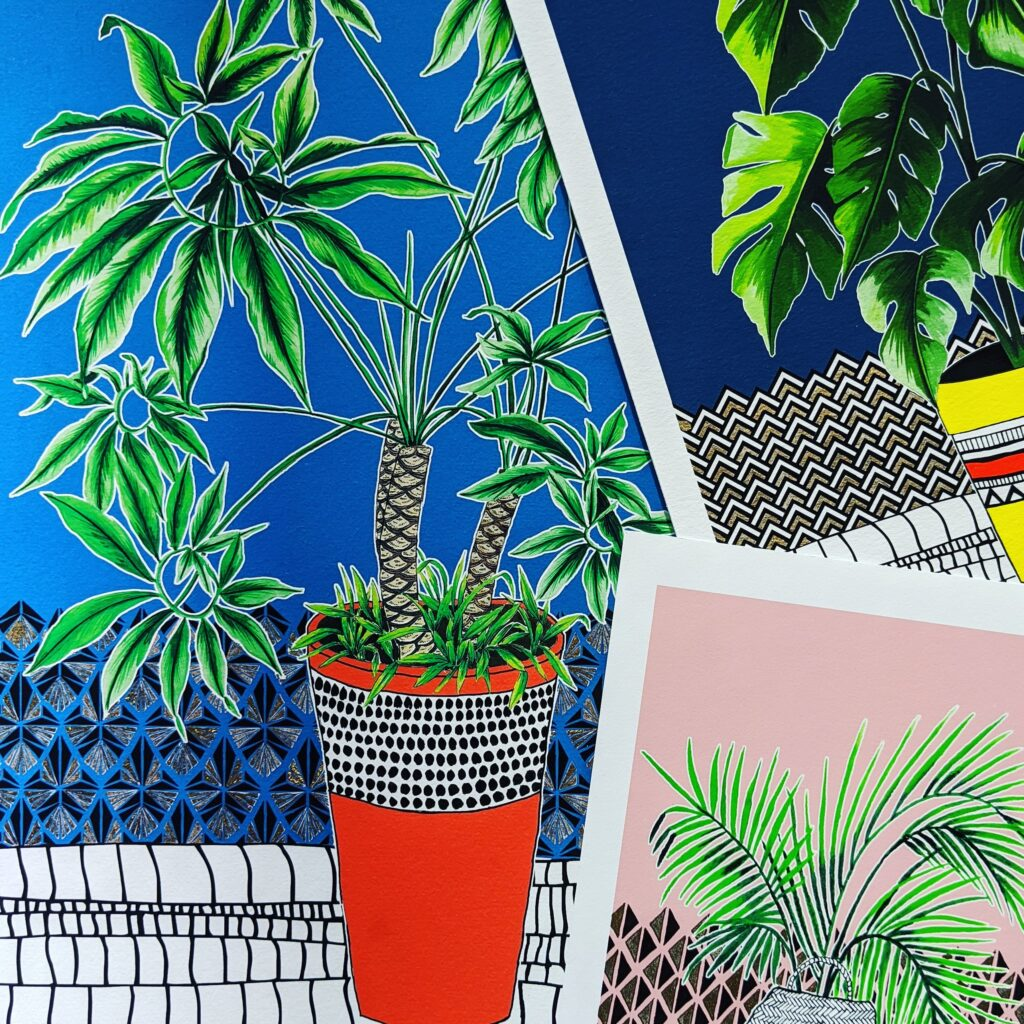 Katie Clement Illustration, Houseplant Art Print collection closeup of Monstera Print, Palm Print and Philodendron Print