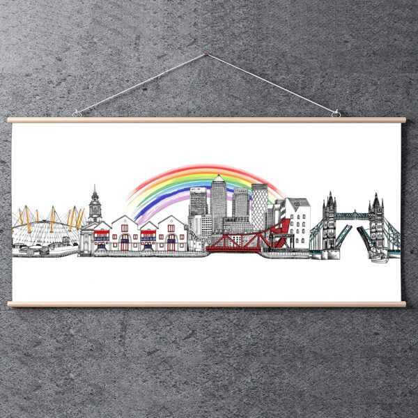 Katie Clement Illustration, Limited Edition Rainbow East London Skyline Print, hanging in a wooden print hanger