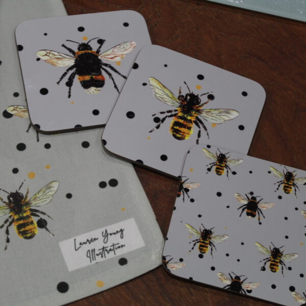 Bee Coasters in 3 different designs and Bee print Teatwoel