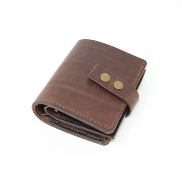 Happy Hedgerow, brown leather wallet with press stud closure