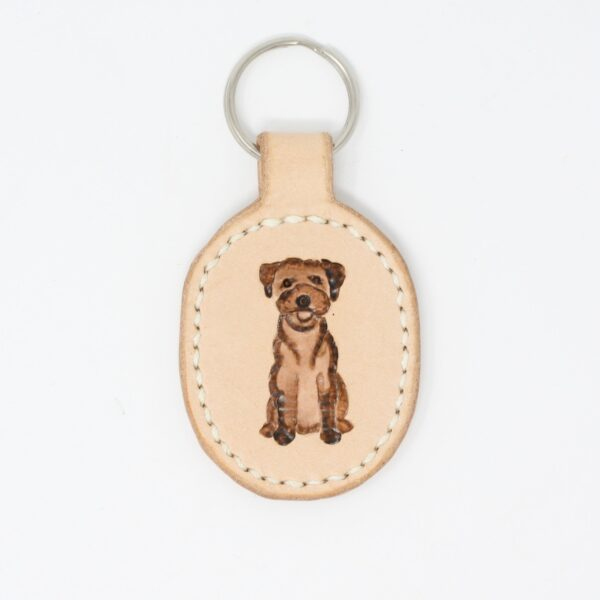 Happy Hedgerow, border terrier leather key fob