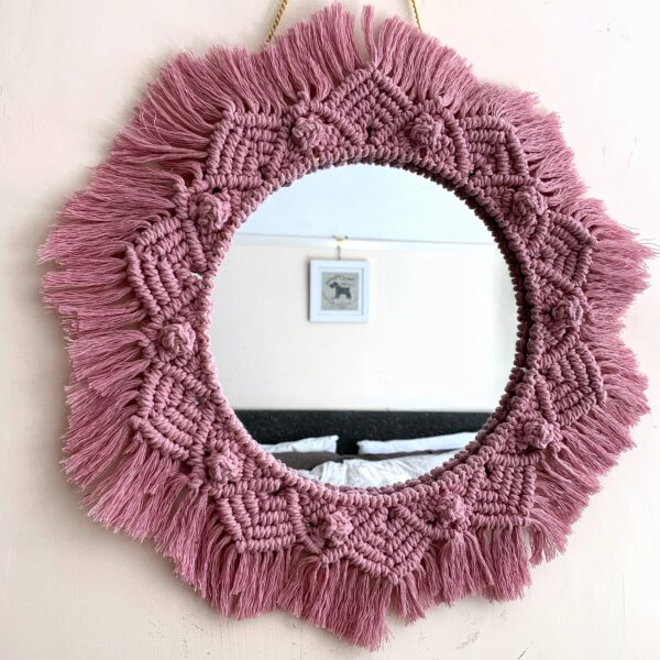 BrambleBlessings - Round Bohemian Mirror in blush/pastel pink.